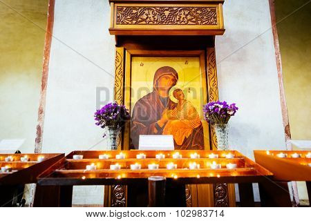 Rome, Italy - October 30: Icon Shows The Virgin Mary With The Baby Jesus In The Greek-catholic Churc