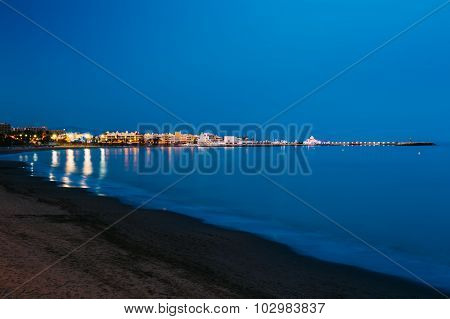 Night Scenery View Of Embankment, Seacoast, Beach In Benalmadena