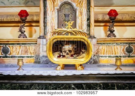 Rome, Italy - October 30: Skull Of St Valentine Is Kept In The Greek-catholic Church Of Santa Maria