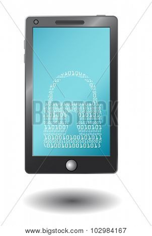 Simple vector smart phone with virtual padlock,