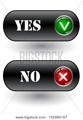 Yes and No check marks. Vector icons. vector