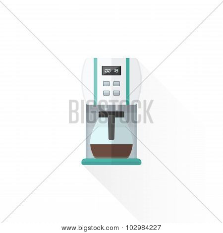 Vector Flat Style White Coffee Machine Illustration.