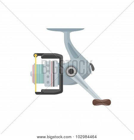 Vector Flat Style Gray Fishing Reel Illustration.