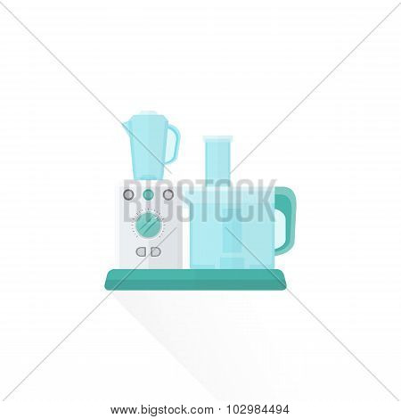 Vector Flat Style White Food Processor Illustration.