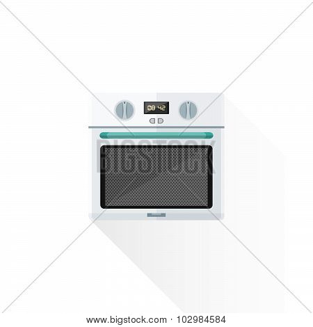 Vector Flat Style White Kitchen Oven Illustration.