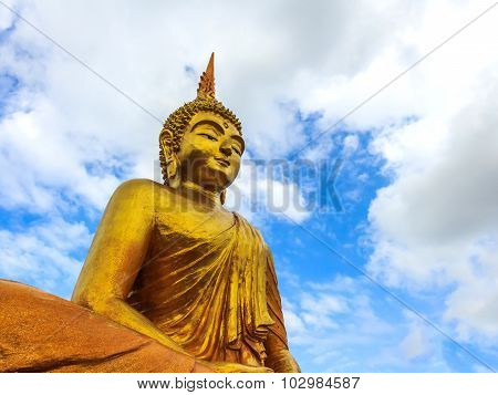 Gold Buddha Statue In Thailand Temple