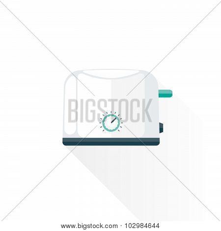 Vector Flat Style Metal White Kitchen Toaster Illustration.