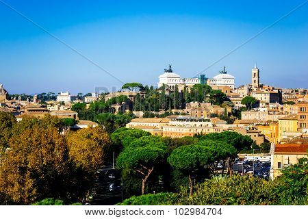 Rome, Italy - October 30: Panoramic View Of Rome As Seen From Orange Garden, Giardino Degli Aranci,