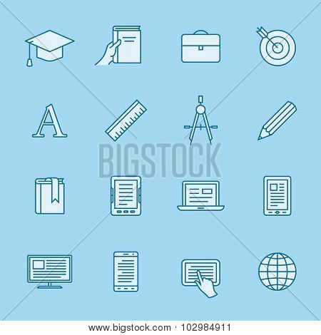 Remote education linear icons. Simple outlined e-learning icons. Linear style