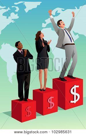 Businessman Winning Or Success Concept