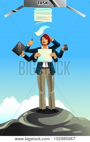 Businessman Between Rock And Hard Place Concept