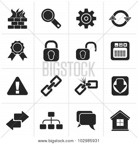 Black Internet and web site icons