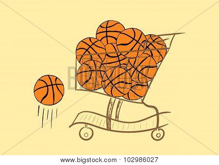 The cart with basketballs