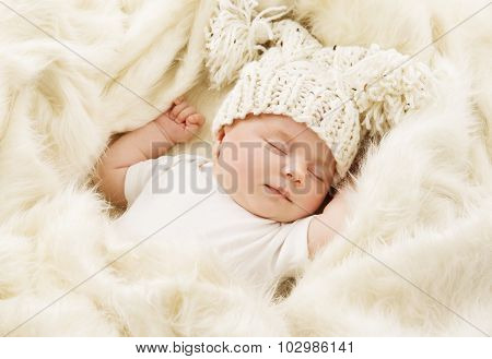 Baby Sleeping In Bed, Newborn Kid Sleep In Hat, New Born Girl