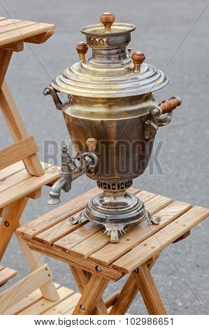 Old Russian Traditional Object For Tea Ceremony - Copper Samovar