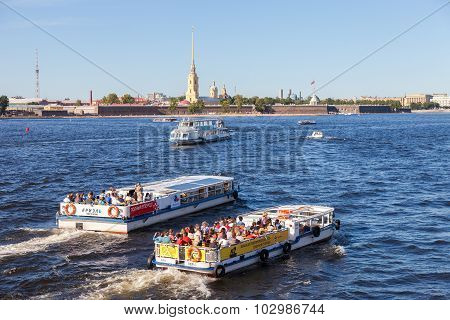 River Cruise Boats On The Neva  River In Summer Sunny Day