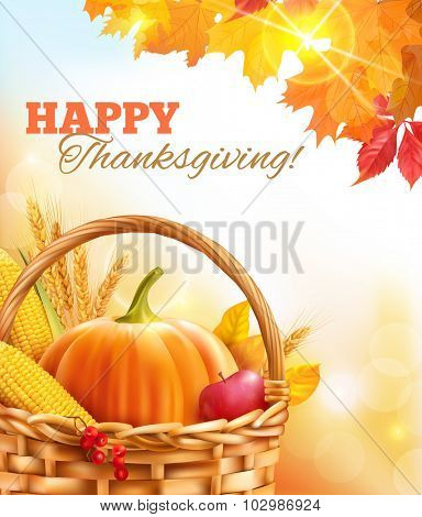 Sunny Thanksgiving Day background. Vector illustration.