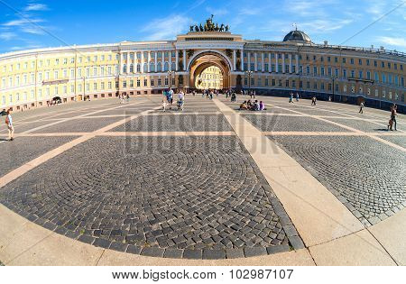 Fisheye View Of Saint Petersburg.  Panorama Of Palace Square And General Staff Building