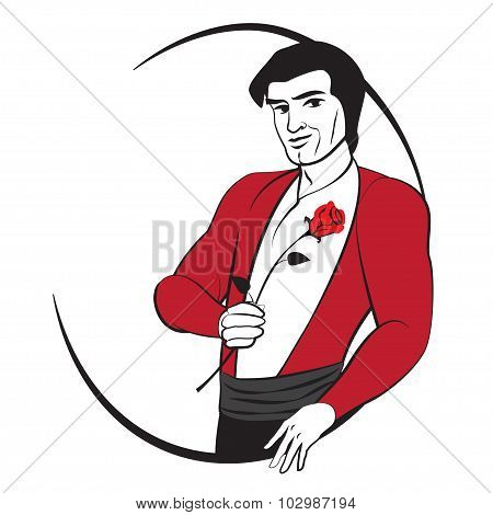 Hot Spanish Man With A Rose. Abstract Vector Logo.