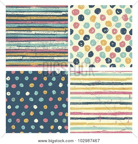 Set Of Four Bright  Seamless Patterns