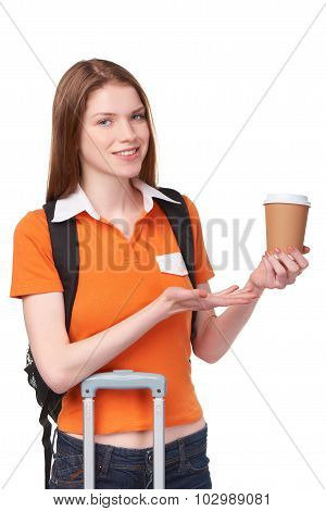 Teen girl holding disposable paper cup