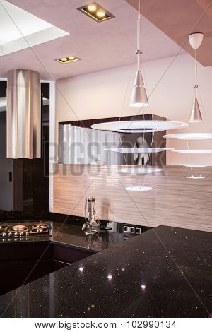 Black Countertop In The Kitchen