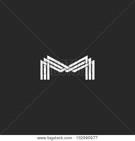 M Letter Monogram Logo, Black And White Mockup Business Card Or Wedding Invitation, Geometric Shape