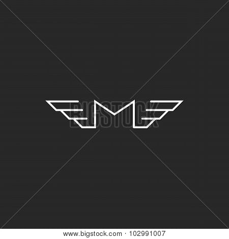 M Wings Letter Logo Monogram, Black And White Design Element For Business Card Or Template Transport