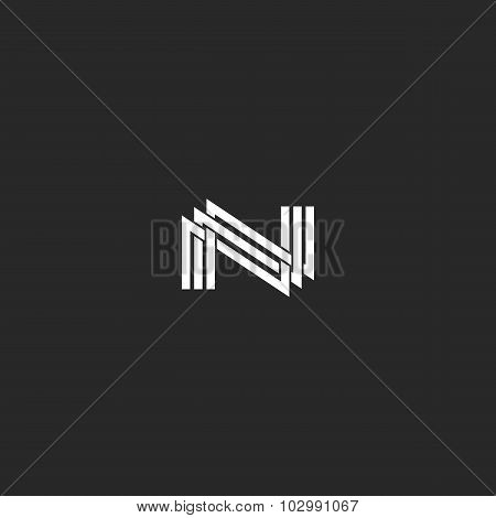 N Monogram Letter Logo, Overlapping Thin Line, Design Element Wedding Invitation