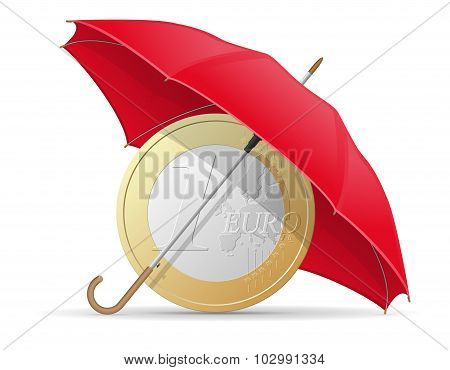 Concept Of Protected And Insured Euro Coins Umbrella Vector Illustration