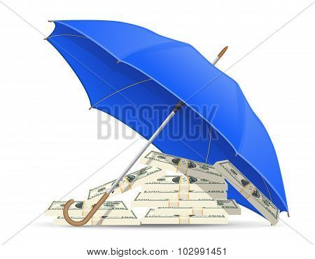 Concept Of Protected And Insured Dollars Umbrella Vector Illustration