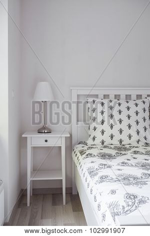 Wooden Nightstand And Bed