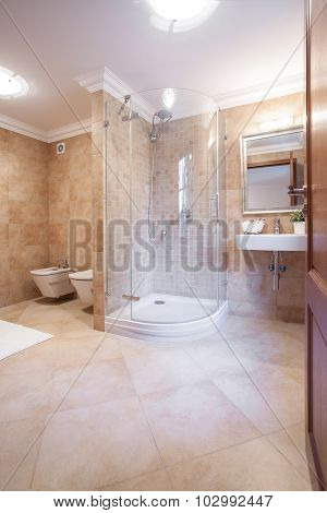 Spacious Warm Bathroom With Shower