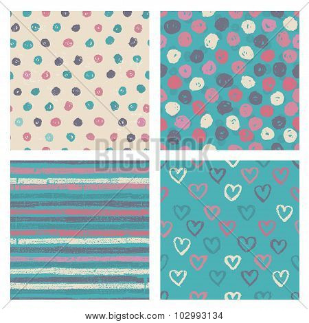 Set Of Naive Styled Seamless Patterns