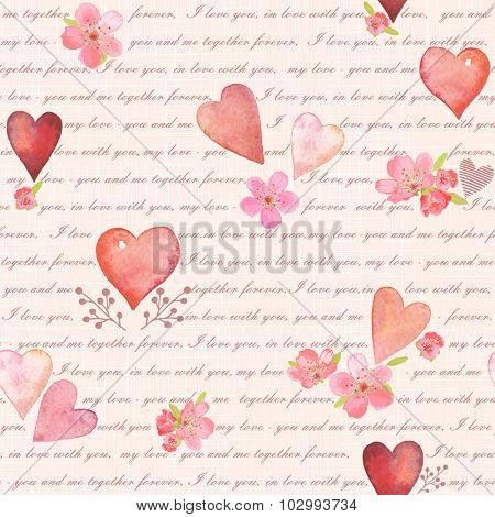 Seamless background of letter about love with flowers and watercolor hearts, vector illustration.