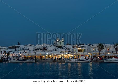 Paros, Greece 8 August 2015. Naoussa view at night, a famous touristic destination in Greek island P