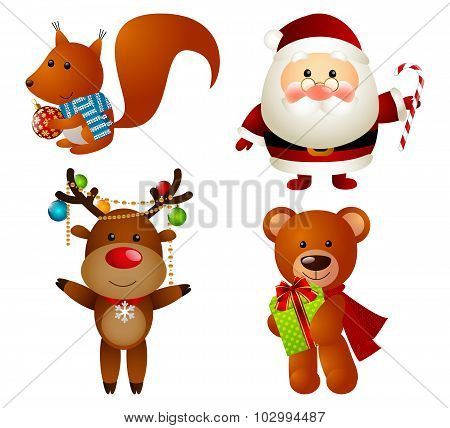 Set of Christmas cartoon characters