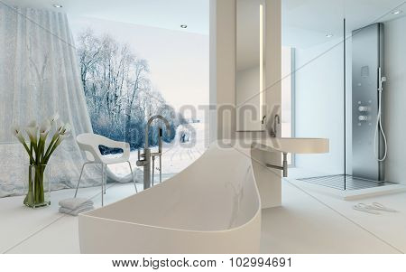 Ultra Modern Design Bathroom interior with unusual shaped bathtub, shower and floor-to-ceiling window with a winter landscape view. 3d Rendering.