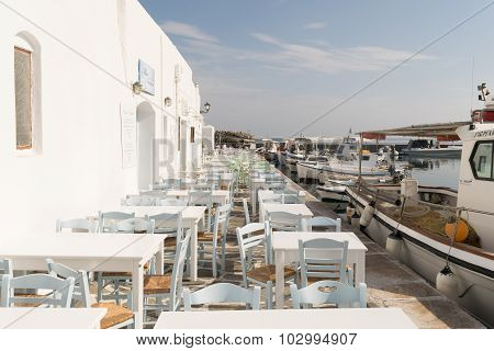 Paros, Greece, 15 August 2015. Beautiful graphic port at Naoussa in Paros Greece island.