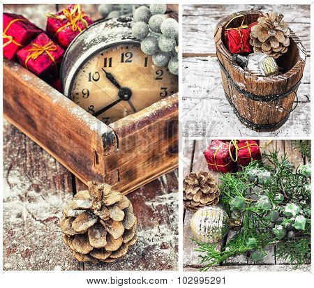 Collage With Christmas Decorations And An Old Alarm Clock