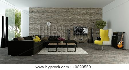 Large modern living room with textured accent wall to resemble bricks with comfortable sofas and a yellow armchair in front of large open glass patio doors, 3d rendering