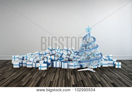 Christmas decoration with heaps of decorative gift-wrapped presents surrounding a decorated white Christmas tree themed with blue accents for a large family gathering