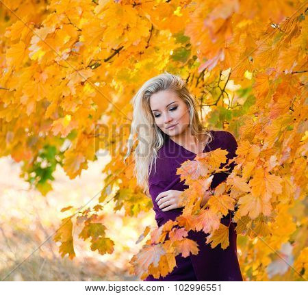 Young Blond Girl In Autumn Color