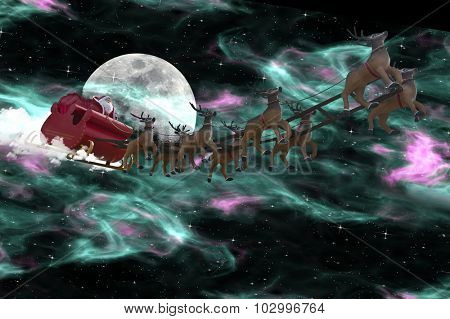 Santa Claus riding a sleigh led by reindeers following the Aurora Borealis