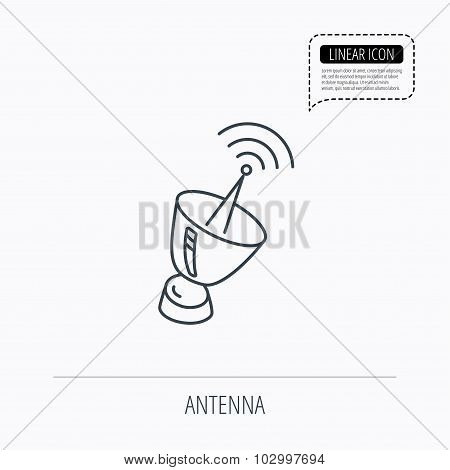 Antenna icon. Sputnik satellite sign.