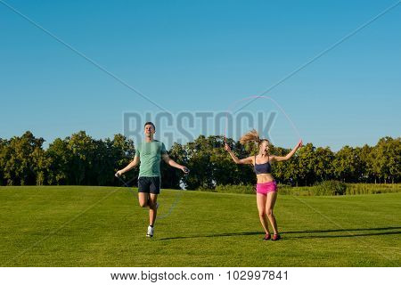 Physical education on a green meadow.