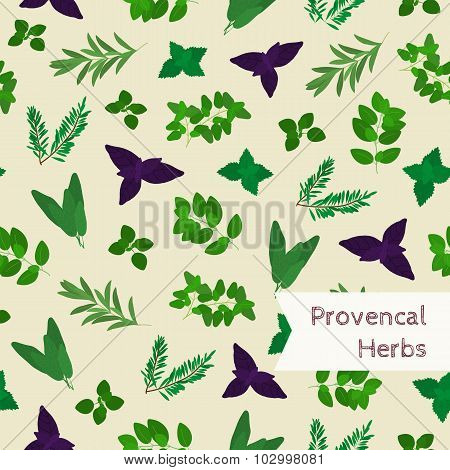 Seamless Pattern With Provencal Herbs.