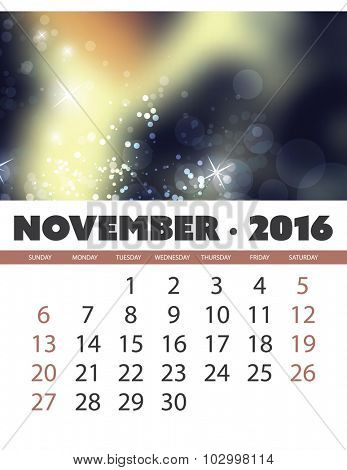 Monthly Calendar: November 2016 Template with Colorful Abstract Background. Vector Illustration.