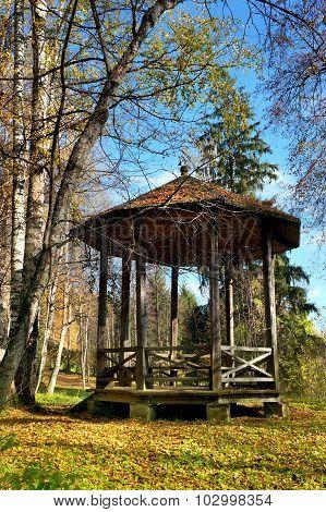 Autumn, wooden pavilion in park