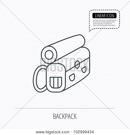 Backpack icon. Travel equipment sign.